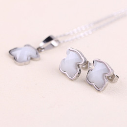 Wholesale ceramic jewelry pendants - 2018 Mujer pendientes oso Stainless Steel Cute white ceramics gems pendant Jewelry Necklace and Earring Set for women drop shipping bears