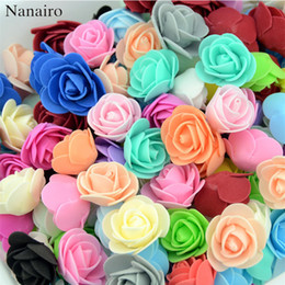 rubans de satin Promotion 500pcs / lot Mini PE mousse Rose Corolle artificielle Rose Fleurs main bricolage mariage Décoration fêtes de Noël Fournitures