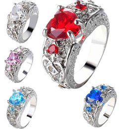 Wholesale diamond shaped jewelry - Crystal Love Heart Ring Heart Shape Diamond Rings Fashion Jewelry for Women Gift Drop Ship 080319