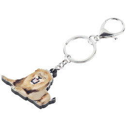 gifts for teens girls Promo Codes - Acrylic Roaring Lion Key Chains Keychain Rings Africa Animal Jewelry For Women Girls Teens Handbag Car Charms Gift Bulk