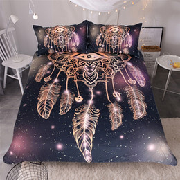 Wholesale Hand Stamped Machine - BOHO Style Dream Catcher Bedding Set 3PC Gold Stamping Craft Duvet Cover Set Quilt Cove r& Pillowcase Twin Full Queen King Size