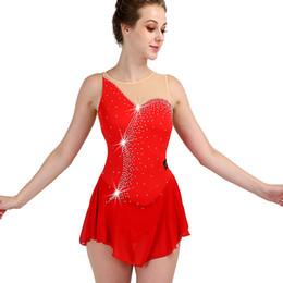 competizioni di pattinaggio su ghiaccio delle ragazze Sconti Pattinaggio di figura Vestito senza maniche Elasticità Cristallo Personalizzato Pattinaggio su ghiaccio Abbigliamento Ragazze Donne Concorso Ice Dress ZH8030