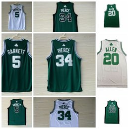 Low Price Men s No 34 Paul Pierce Jersey No 5 Kevin Garnett Jersey No 20  Ray Allen Jersey Green White Stitched Basketball Jerseys 67c29b565