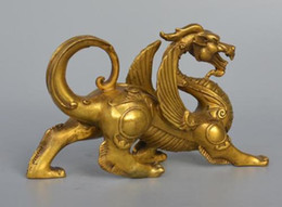 Wholesale font lights - Chinese Fengshui Pure Brass Evil Dragon Kylin Unicorn Wing Beast statue