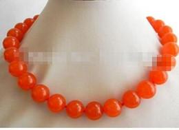 2019 pietre arancioni Free Shippin all'ingrosso LAN032 Collana girocollo in pietra arancione da 12 mm pietre arancioni economici