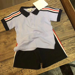 Wholesale Boys Striped Shirts - 2018 Hot girls boys Summer suit Clothes 100% cotton handsome Kids Clothing Set T shirt+pants high quality