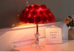 Lumières pour le mariage en Ligne-Foyer Lecture assis salon bureau de princesse mariage LED lampe de table fleur rose table de mariage lampe de table en cristal clair