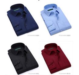 Argentina Camisa de los hombres del diseñador de 6 colores de manga larga Slim 2018 Camisas de los hombres del nuevo color de alta calidad de la moda para las bodas de los negocios Camisas para el novio Suministro