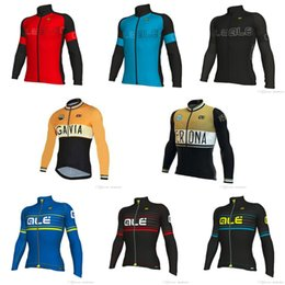 Wholesale Racing Long Sleeve - 2018 ALE team NEW Cycling Long sleeve Jersey Bike Clothes Sportswear Racing Bicycle clothes Men's ropa ciclismo E61205