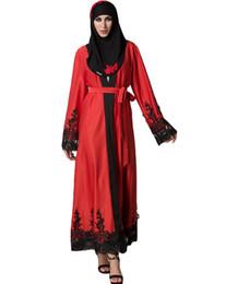 Femmes musulman Cardigan Spliced Crochet Dentelle Ourlet À Manches Longues Islamique Abaya Maxi Dress Outwear Bleu / Rouge Musulman Femme Robe 2017 ? partir de fabricateur