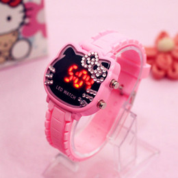 2019 ver gatito de niños 2018 Hot LED reloj para niños hello kitty Diamond reloj digital KT Cat Candy Color Pink Girl Caton estudiante relojes ver gatito de niños baratos
