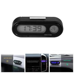 2019 relógios de carro led AOZBZ 2 em 1 Painel Do Carro Relógio Ajustável Auto Termômetro Calibre Ornamento Do Carro com LED Backlight desconto relógios de carro led