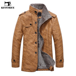 Wholesale mens thick lined winter coat - KENNTRICE Leather Jacket Men Winter Leather Jackets Motorcycle Jacket Mens Long Trench Coat Fleece Lined Pu Coat Male