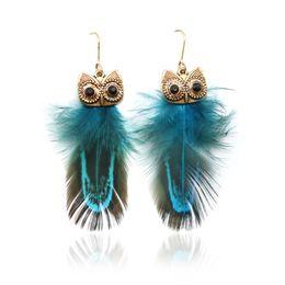 Wholesale Diamond Peacock Earrings - 100 Pairs Retro diamond alloy owl feather peacock feather earrings Free Shipping