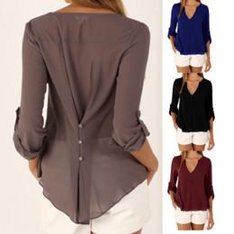 v pescoço profundo slimming blusas Desconto Nova moda casual decote em V profundo botão cintura fina mangas compridas camisa blusa de chiffon top 11 cores