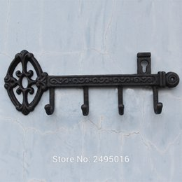 Wholesale cast iron decorations - Cast Iron Skeleton Key Rack Holder Wall Decoration with 4-hooks
