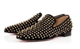Wholesale Silver Round Stud Rivets - drop shipping spikes 2018 sneakers Spikes Red Bottom Luxury Designer Flat Casual Shoes Men Low Top Red Sole Studded Black Studs Rivet Male