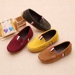 Wholesale kids loafers shoes - Kids Flock PU Girls Leather Casual Shoes Boys Loafers All Sizes 21-30 Boys Slip-on Soft Breathable Shoes Unisex Shoes