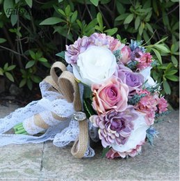 bayas de rosas Rebajas Ramo de novia de la vendimia flores ramo de novia para la novia por encargo romántico país estilo bohemio boda diseño ramos de novia 2018