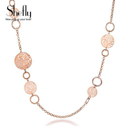 roses for pendants Promo Codes - Shefly Alloy Rose Gold Color Brand Long Necklace Statement Jewelry Gifts For Women 2017 Fashion Tree Of Life Pendant XL07685