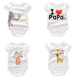 Wholesale Onesie Orange - Baby Rompers Boys Onesie Summer Girls Clothing White with Different Print 20 Designs Short Sleeve Newborn Jumpsuit Cotton Clothes