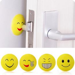 Wholesale Green Door Knobs - 3D Wall Stickers Rubber Door Handle Knob Emoji Crash Pad Wall Protector Self Adhesive Bumper Stickers
