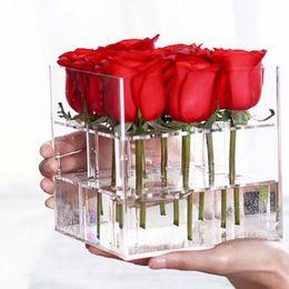 Wholesale Cosmetics Material - Acrylic Transparent Material Makeup Organizer Cosmetic Case Rose Flower Box Makeup Organizer Box Holder