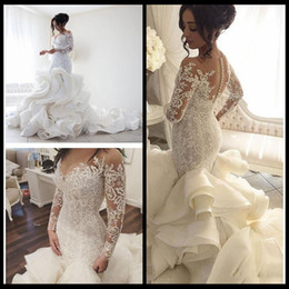 Wholesale Long Layered Skirts - Sheer Long Sleeves Lace Mermaid Wedding Dresses Ruffles Layered Court Length Bridal Gowns With Buttons Robe de soriee 2018