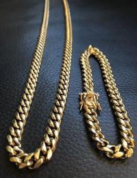 Wholesale 14k Cuban Link Bracelet - 8mm Mens Cuban Miami Link Bracelet & Chain Set 14k Gold Plated Stainless Steel