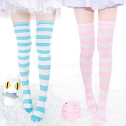 3872b1f4a 1Pair New Women Girls Over Knee Long Stripe Printed Thigh High Striped  Patterned Socks 7 Colors Sweet Cute Warm Wholesale Lot blue yellow striped  socks ...