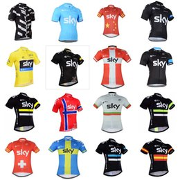 Wholesale Mountain Tours - 2018 Team Sky Cycling Jerseys Quick Dry Breathable Tour mtb bicycle Shirt High Quality Short Sleeves mountain Bike Tops C2931