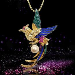 cadena libre del pájaro Rebajas Euramerican Style Freshwater 8mm Pearl Bird Phoenix Broche para las mujeres Crystal Breastpin con cadena libre