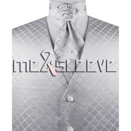 Wholesale Tuxedo Ascot Tie - Wholesale Men's Suit Tuxedo Dress Vest and ascot tie Set NEW