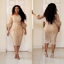 Wholesale Sheer Embroidered Long Dresses - Sexy African Champagne Lace Plus Size Evening Dresses 2018 Modest Vintage Tea-length 3 4 Long Sleeve Mermaid Occasion Prom Party Dress