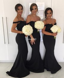 Wholesale Olive Green Evening Gowns - Black Mermaid Long Bridesmaid Dresses for Wedding 2018 Off Shoulder Lace Beading Plus Size Guest Formal Evening Gowns Maid of Honor Dresses