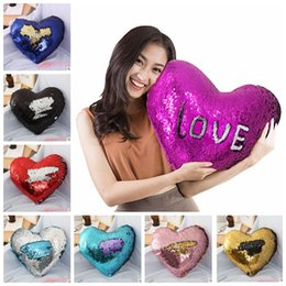 Wholesale Glitter Shapes - heart shape Sequin Pillowcase mermaid Glitter Cushion Cover without inner Cafe Home Decoration Present 35*40cm 15 design KKA4663