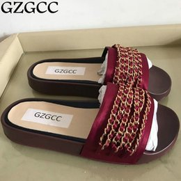 Wholesale Natural Rubber Flooring - GZGCC Women Luxury Natural Real Genuine Slippers Flat Shoes Sandals Slides Mules