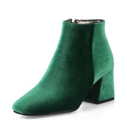 Grüne blockschuhe online-Samt Stiefel Frauen Stiefeletten High Heels Kurze Stiefel Reißverschluss 2018 Marke Luxus Blockabsatz Schuhe Grün Große Größe 12 33-46