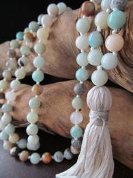 Wholesale Tassel Mala - Knotted Necklace Round Beads Tassel Necklace 108 Bead Amazonite Mala Prayer Make prayer Hand Knotted Yoga Mala Beads