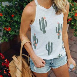 Deutschland Frauen Crop Top 2018 Sommer Strap Cactus Print Tank Tops beschnitten Feminino Damen elastische Freizeithemd Weste Camisole cheap polyester tanks camis Versorgung