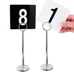 Wholesale markers wedding table - Plastic Table Marker Number Cards + Metal Table Card Holder Stand for Banquets Wedding Restaurant Bar Decor ZA6809 20180510#