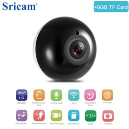 macchina fotografica sricam Sconti Sricam SP022 HD 960P Mini telecamera wireless a 360 gradi WiFi 1.3MP Rete Sicurezza domestica Telecamera panoramica IR + 8GB TF Card opzionale