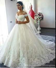 Wholesale Wedding Dresses Lace Up - 2018 Luxury Lace Ball Gown Wedding Dresses A Line Off Shoulder Sweep Train Bridal Gowns With Lace Applique Plus Size Wedding Gowns