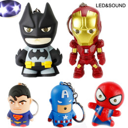 Wholesale superhero rings - Superhero Batman Iron Man Spiderman Superman Captain America Keychain Mini Action Figure Toys LED Light Key Chains Ring Fashion Drop Ship