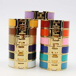 Esmalte presentes on-line-316L titanium aço punk bangle em 18mm de largura com esmalte colorido e H palavras para homem e mulheres bangle em tamanho 6.2 * 4.6 cm presente da jóia PS639