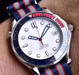 Просмотрам онлайн-Роскошные часы Commander 007 41 мм Часы с автоматическим механизмом из нержавеющей холст ремешок спортивные мужские мужские часы Часы