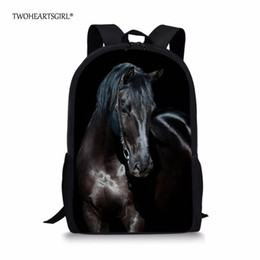 1e4a777492ca Twoheartsgirl Black Crazy Horse School Bag for Teenager Boys Girls Unique 3d  Children Kids Book Bag Print Animal Schoolbags