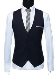 Wholesale Wedding Suit Grey Waistcoat - 2018 New Spring Formal Mens Black Red Blue Ivory White Dress Suits Vest Plus Size Fashion Wedding Men Suit Vest Men Waistcoat