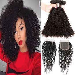 Wholesale Bundles Top Lace Closure - Brazilian Human Hair Kinky Curly 3 Bundles With 4 X 4 Lace Closure Kinky Curly Hair Extensions Wefts With Top Closures