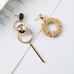 Wholesale Handmade Statement Jewelry - New Fashion Earrings handmade bohemian straw ring metal ball asymmetric Stud Dangle earrings For Women Charm Statement Jewelry Party Gifts